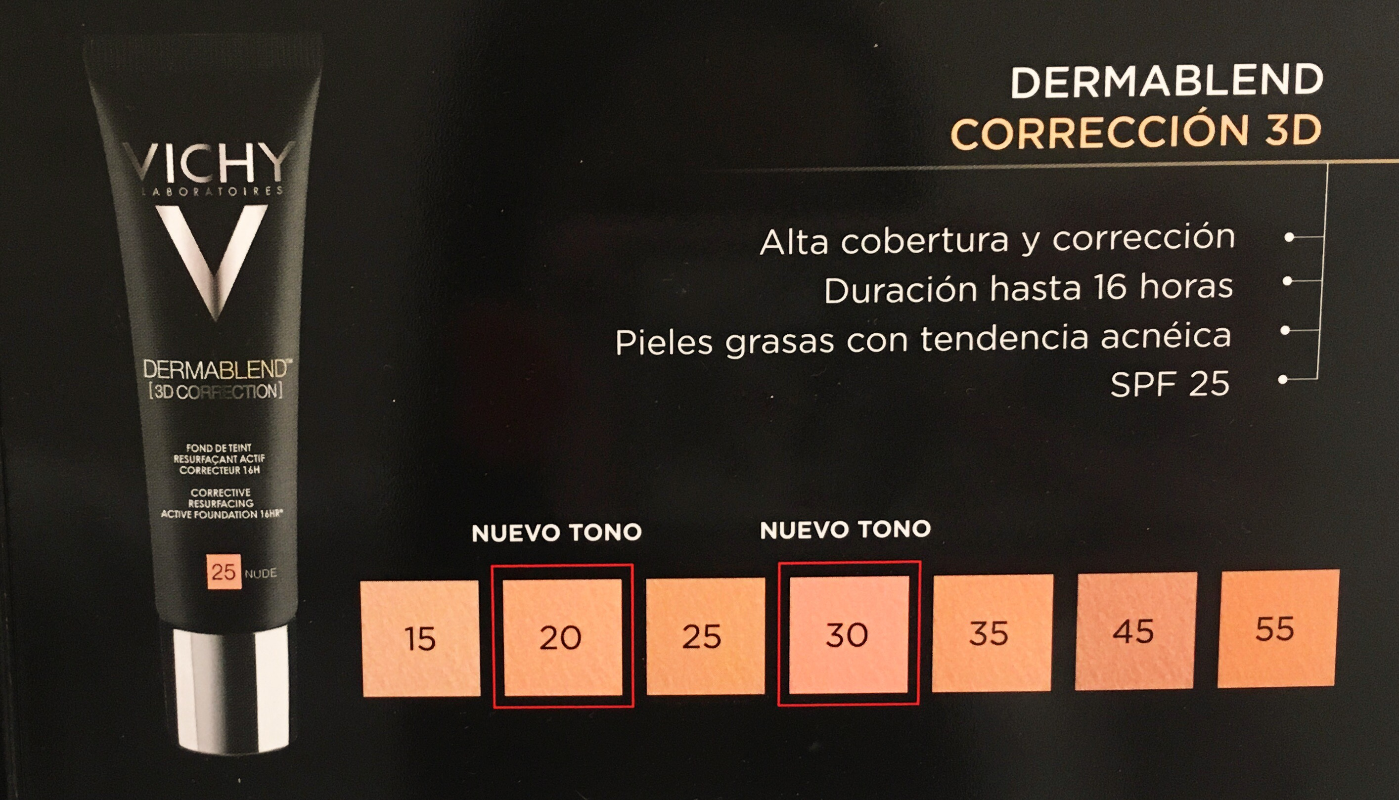 DERMABLEND 3D CORRECTION SPF 25 OIL FREE  Nº 45 GOLD