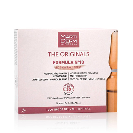 MARTIDERM THE ORIGINALS FORMULA Nº10 HD COLOUR TOUCH SPF 30+ 10 AMPOLLAS